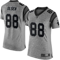 Nike Panthers #88 Greg Olsen Gray Women's Stitched NFL Limited Gridiron Gray Jersey