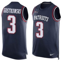 Nike Patriots #3 Stephen Gostkowski Navy Blue Team Color Men's Stitched NFL Limited Tank Top Jersey