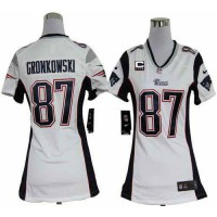 Nike Patriots #87 Rob Gronkowski White With C Patch Women's Stitched NFL Elite Jersey