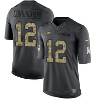 Nike Philadelphia Eagles #12 Randall Cunningham Anthracite Men's Stitched NFL Limited 2016 Salute To Service Jersey