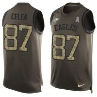 Nike Philadelphia Eagles #87 Brent Celek Green Men's Stitched NFL Limited Salute To Service Tank Top Jersey