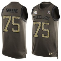 Nike Pittsburgh Steelers #75 Joe Greene Green Men's Stitched NFL Limited Salute To Service Tank Top Jersey