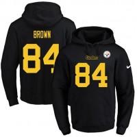 Nike Pittsburgh Steelers #84 Antonio Brown Black(Gold No.) Name & Number Pullover NFL Hoodie