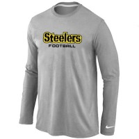 Nike Pittsburgh Steelers Authentic Font Long Sleeve T-Shirt Grey