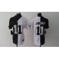 Nike Raiders #11 Sebastian Janikowski BlackWhite Women's Stitched NFL Elite Split Jersey
