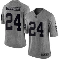 Nike Raiders #24 Charles Woodson Gray Men's Stitched NFL Limited Gridiron Gray Jersey