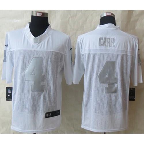 0f675eb0db7 Nike Raiders  4 Derek Carr White Men s Stitched NFL Limited Platinum Jersey