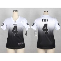 Nike Raiders #4 Derek Carr WhiteBlack Women's Stitched Elite Fadeaway Fashion Jersey