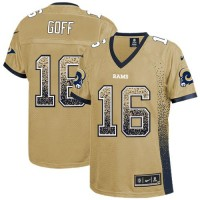 Nike Rams #16 Jared Goff Gold Women's Stitched NFL Elite Drift Fashion Jersey