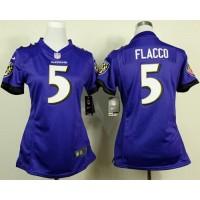 Nike Ravens #5 Joe Flacco Purple Team Color Women's Stitched NFL New Elite Jersey