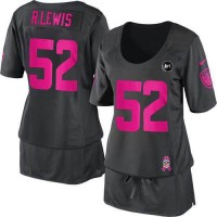 Nike Ravens #52 Ray Lewis Dark Grey With Art Patch Women's Breast Cancer Awareness Stitched NFL Elite Jersey