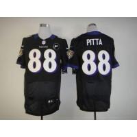 Nike Ravens #88 Dennis Pitta Black Alternate With Art Patch Men's Stitched NFL Elite Jersey