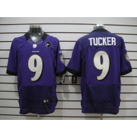 Nike Ravens #9 Justin Tucker Purple Team Color With Art Patch Men's Stitched NFL Elite Jersey