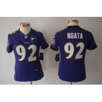 Nike Ravens #92 Haloti Ngata Purple Team Color With Art Patch Women's Stitched NFL Limited Jersey