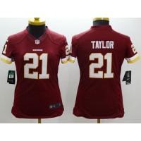 Nike Redskins #21 Sean Taylor Burgundy Red Team Color Women's Stitched NFL Limited Jersey