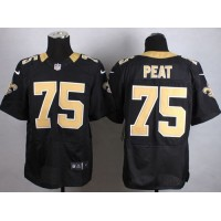 Nike Saints #75 Andrus Peat Black Team Color Men's Stitched NFL Elite Jersey
