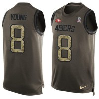 Nike San Francisco 49ers #8 Steve Young Green Men's Stitched NFL Limited Salute To Service Tank Top Jersey