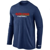 Nike San Francisco 49ers Authentic Font Long Sleeve T-Shirt Dark Blue