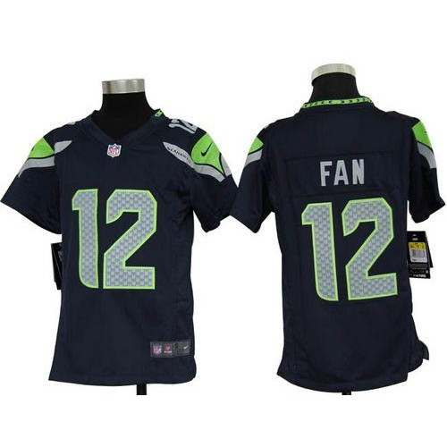 Top Nike Seahawks #12 Fan Steel Blue Team Color Youth Stitched NFL Elite  hot sale