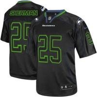 Nike Seahawks #25 Richard Sherman Lights Out Black Men's Stitched NFL Elite Jersey