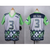Nike Seahawks #3 Russell Wilson Grey Youth Stitched NFL Elite Noble Fashion Jersey