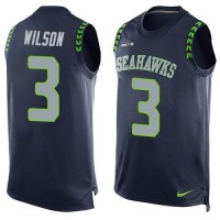 Nike Seahawks #3 Russell Wilson Steel Blue Team Color Men's Stitched NFL Limited Tank Top Jersey
