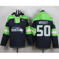 Nike Seahawks #50 K.J. Wright Steel Blue Player Pullover NFL Hoodie