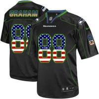 Nike Seahawks #88 Jimmy Graham Black Men's Stitched NFL Elite USA Flag Fashion Jersey