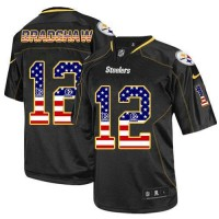 Nike Steelers #12 Terry Bradshaw Black Men's Stitched NFL Elite USA Flag Fashion Jersey