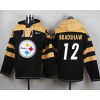 Nike Steelers #12 Terry Bradshaw Black Player Pullover NFL Hoodie
