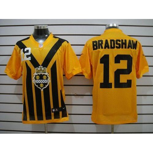 035579c22 Nike Steelers  12 Terry Bradshaw Gold 1933s Throwback Men s Stitched NFL  Elite Jersey