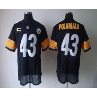 Nike Steelers #43 Troy Polamalu Black Team Color With C Patch Men's Stitched NFL Elite Jersey