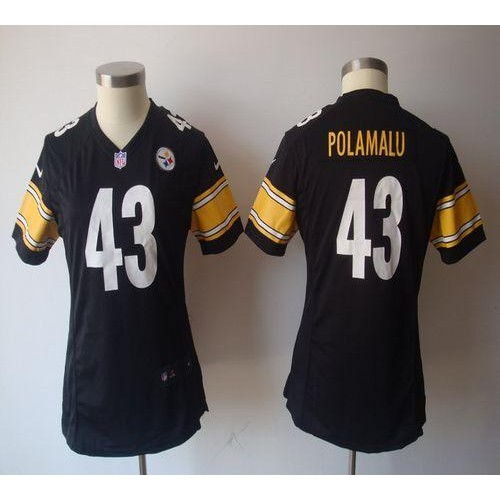 Hot Nike Steelers #43 Troy Polamalu Black Team Color Women's NFL Game Jersey  hot sale