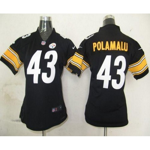 f800f7c57 Nike Steelers  43 Troy Polamalu Black Team Color Women s Stitched NFL Elite  Jersey