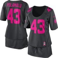 Nike Steelers #43 Troy Polamalu Dark Grey Women's Breast Cancer Awareness Stitched NFL Elite Jersey