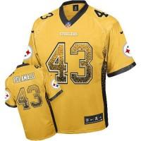Nike Steelers #43 Troy Polamalu Gold Men's Stitched NFL Elite Drift Fashion Jersey