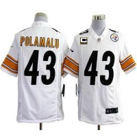 Nike Steelers #43 Troy Polamalu White With C Patch Men's Stitched NFL Game Jersey