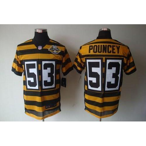 c0bc69272 Nike Steelers  53 Maurkice Pouncey YellowBlack Alternate 80TH Throwback  Men s Stitched NFL Elite Jersey