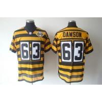 Nike Steelers #63 Dermontti Dawson YellowBlack 80TH Anniversary Throwback Men's Stitched NFL Elite Jersey