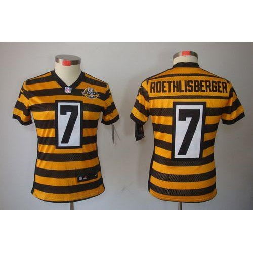 92c75afbb Nike Steelers  7 Ben Roethlisberger YellowBlack Alternate Women s Stitched  NFL Limited Jersey