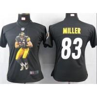 Nike Steelers #83 Heath Miller Black Team Color Women's Portrait Fashion NFL Game Jersey