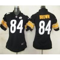 Nike Steelers #84 Antonio Brown Black Team Color Women's Stitched NFL Elite Jersey