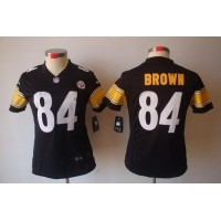 Nike Steelers #84 Antonio Brown Black Team Color Women's Stitched NFL Limited Jersey