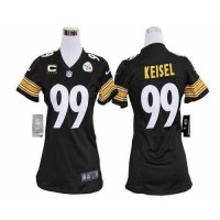 Nike Steelers #99 Brett Keisel Black Team Color With C Patch Women's Stitched NFL Elite Jersey