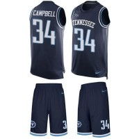 Nike Tennessee Titans #34 Earl Campbell Navy Blue Alternate Men's Stitched NFL Limited Tank Top Suit Jersey
