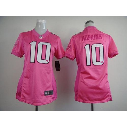 7262b5194 Nike Texans  10 DeAndre Hopkins Pink Women s Be Luv d Stitched NFL New  Elite Jersey