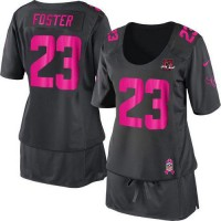 Nike Texans #23 Arian Foster Dark Grey With 10TH Patch Women's Breast Cancer Awareness Stitched NFL Elite Jersey