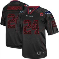 Nike Texans #24 Johnathan Joseph New Lights Out Black With 10th Patch Men's Stitched NFL Elite Jersey