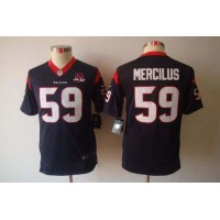 Nike Texans #59 Whitney Mercilus Navy Blue Team Color With 10TH Patch Youth Stitched NFL Limited Jersey