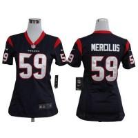 Nike Texans #59 Whitney Mercilus Navy Blue Team Color Women's Stitched NFL Elite Jersey